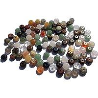 100 perle di pietre semi-preziose miste 8 mm eleganti pietre per gioielli piatte rotonde dure ovali semi-preziose…
