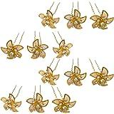 Rapidsflow Bridal Flower Hair Accessories for Women/Juda Hair pins for Women Wedding Set of 12 Golden