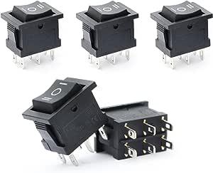 Ytian 5 Stücke 6 Pin Spdt On Off On 3 Position Wippschalter Ac 6a 250v 10a