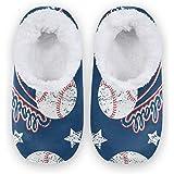 linomo Zapatillas de béisbol vintage para mujer, pantuflas de casa para interiores, calcetines para casa, zapatos de dormitor