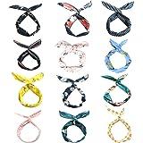 LZYMSZ 12PCS Twist Bow Wired Fasce, Filo di Ferro Fiocco Annodato a Fiori, Yoga Head Wraps Sport Turbante, Vintage Stampato C