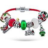 Buon albero di Natale tema Vacanza Santa Helper Elfo e slitta Candy Cane Perline Multi Charm Bracciale Genuine Red Leather fo