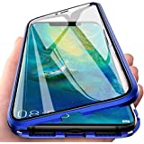 "Case for Huawei P30 Lite(6.15"") Flip Cover Magnetic Adsorption Ultra-thin Case Magnets Metal Aluminum Frame Transparent Front"