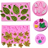 HASTHIP®Reusable Fondant Silicone Mold Leaves Silicone Molds Set Mini Maple Leaf Rose Shaped DIY Handmade Baking Tools for Ca