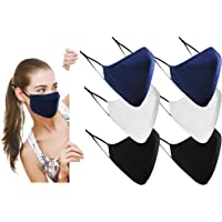 Cotton Washable Cloth Reusable Face Masks UK - Adjustable 3 Layer Protective Fabric Face Cover, Breathable Mouth Mask…
