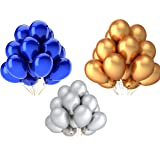 Vail Creations Birthday Decoration Latex Balloon, Pack Of 50, Blue,gold,silver