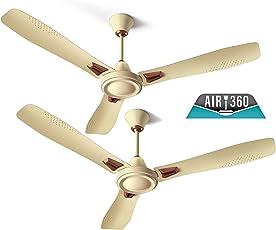 Crompton AIR360 Deco 1260mm Ceiling Fan (Ivory, Pack of 2)