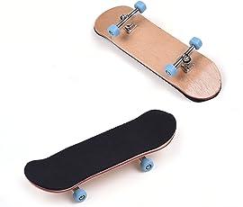 Wooden Fingerboard with Blue Bearing Wheels Metal Nuts Trucks Tool Kit