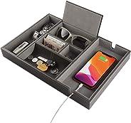 PLENTY Leather Valet Tray for Men, Nightstand Organizer Dresser Catchall for Keys Phone Jewelry Watch Wallet
