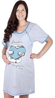 Happy Mama Donna pr/émaman Camicia da Notte Gravidanza Allattamento Fiori Blu, IT 42, M 135p