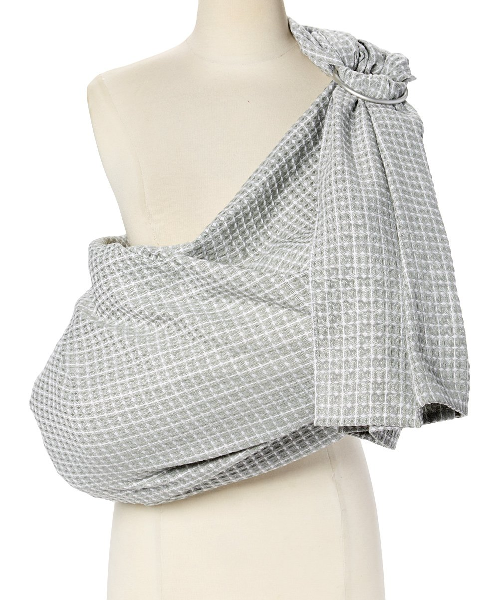 Hip Baby Wrap Ring Sling Baby Carrier for Infants and Toddlers (Kiwi Honeycomb) Hip Baby Wrap Easily adjustable to be used for front tummy to tummy and hip carries for infants through toddlers. Made with beautiful 100% cotton, hand-loomed, breathable fabric and with top quality aluminum SlingRings. For babies 8 - 35 lbs. Our lightweight fabric makes the Hip Baby Wrap cooler for baby and easy to manipulate. Superior ergonomic design helps distribute baby's weight evenly and comfortably across caregiver's body, relieving the shoulders and neck from unnecessary strain. Great for nursing on-the-go and as a nursing cover. Enhances parent-child bonding and child development. 1