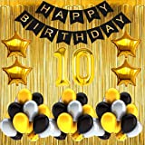 Gleam® No 10 Gold Foil Balloons with Happy Birthday Decoration Items or Kit Black Banner Set of 13 Letters with 30 HD Metalli