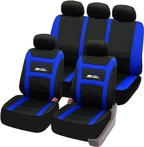 Esituro Universal Sitzbezüge Für Auto Schonbezug Komplettset Schwarz Blau Scsc0095 Auto