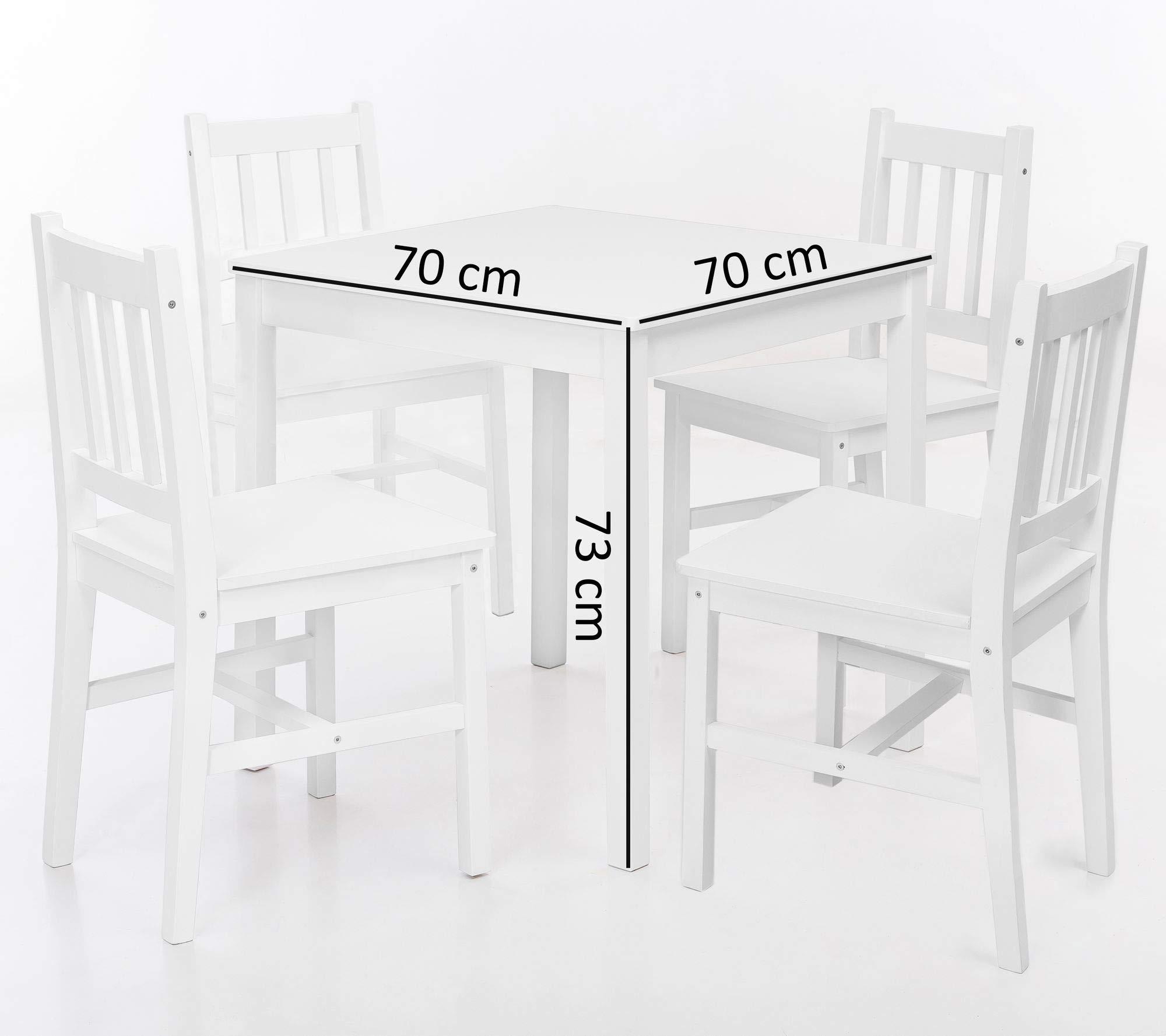 13Casa Fiordaliso B01 Tisch und 4 Stühle, Massivholz, 70 x 70 x 73 cm