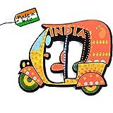 SkyWalker Delhi Wooden Auto Rickshaw Fridge Magnet (Multicolour)
