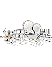 Classic Essentials Stainless Steel Glory Dinner Set, Silver