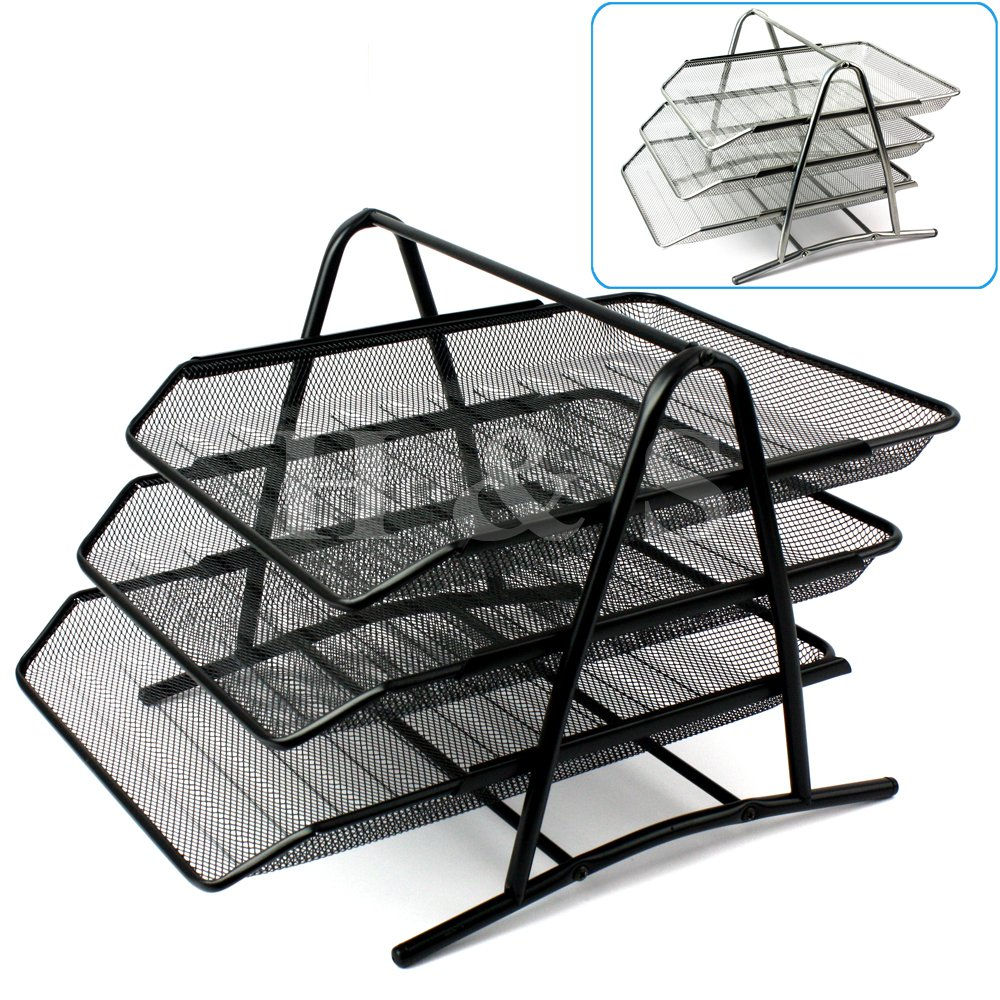 Hu0026S® Wire Mesh Office A4 Document Letter Paper Organiser Storage Filing  Trays Holder (Black): Amazon.co.uk: Kitchen U0026 Home
