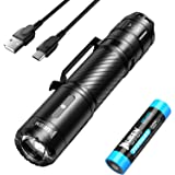 WUBEN Torcia LED Super Luminosa 1200 Lumen Torcia Tattica Potente Torce Ricaricabile USB Torch Militare Impermeabile per Camp