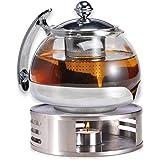 Gravidus Szklany dzbanek do herbaty z sitkiem i podgrzewaczem - 1,2 litra - podgrzewacz do herbaty i zaparzacz do herbaty - z