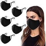 PIPRE 5 pezzi Mascherine per il viso da uomo e donna, traspirante, con passanti regolabili per le orecchie, protezione a 3 st