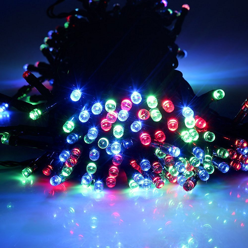 Multi 22m 72ft 200 LED Solar Powered outdoor christmas lights