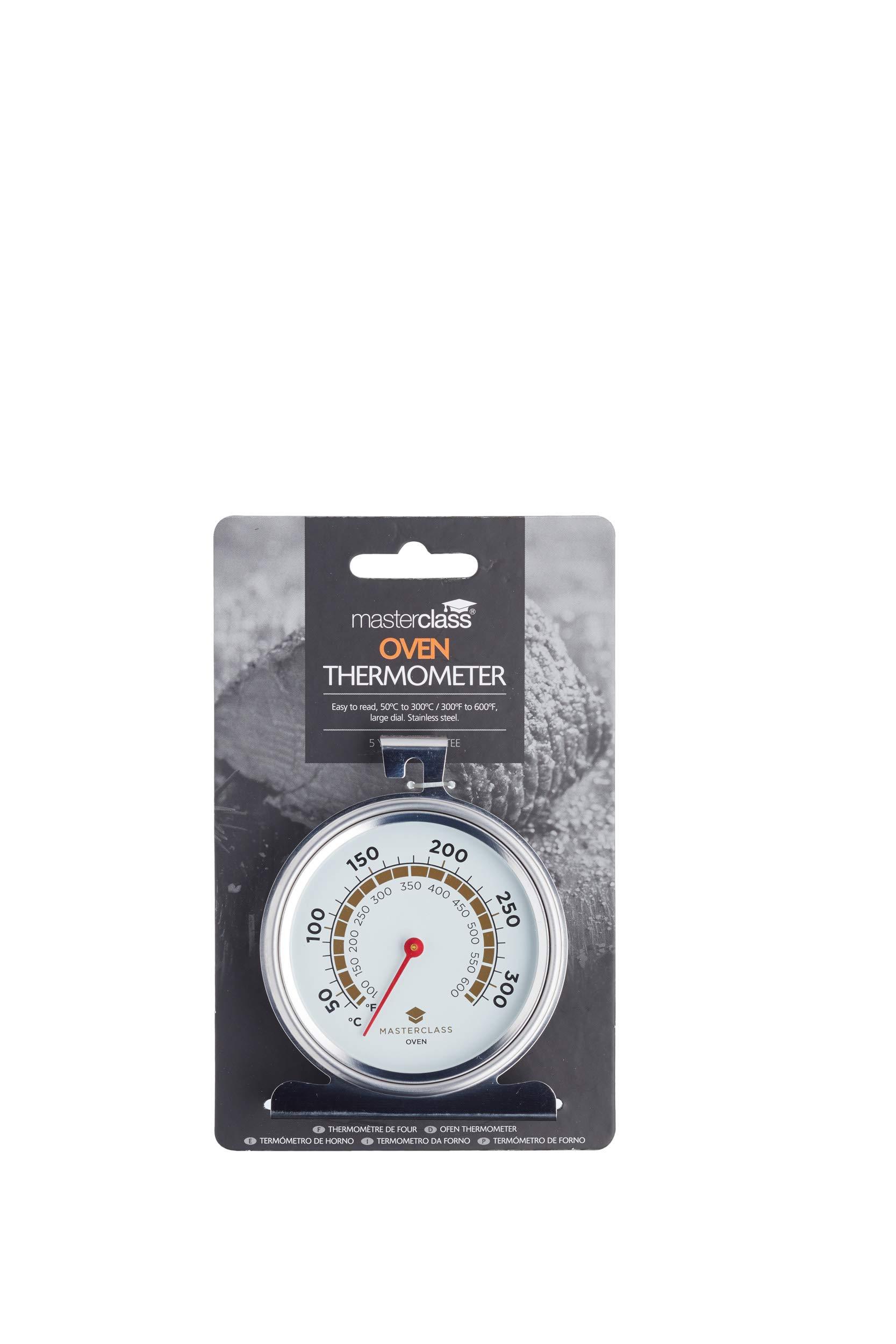 masterclass Termómetro para Horno 50º a 300ºc, Acero Inoxidable, Plateado, 11×17.3×4 cm