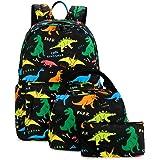 Ecodudo Cute Lightweight Dinosaur Backpacks Boys School Bags Kids Bookbags with Lunch Bag (Colorful Dinosaur Set)