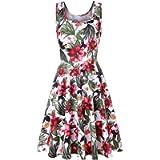 pitashe New Women Sleeveless Dress Floral Crew Neck Dress Summer Beach A Line Casual Mini Dress Above Knee Length Beach…