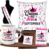 ODDCLICK Princess are Born 5 in 1 September Combo Birthday Gifts Set Cushion with Filler Mug Message Card Keychain Sash Gift