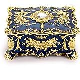 Sumnacon Boîte à bijoux vintage double couches Coffret à Bijoux Rétro Métal Organisateur d'accessoires pour anneaux, boucles