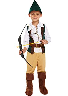 Child Outlaw Costume Boys Robin Hood Peter Pan World Book Week Fancy Dress