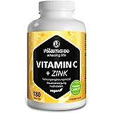 Vitamaze® Vitamina C Pura 1000 mg Alto Dosaggio + Zinco, 180 Compresse Vegan per 6 Mesi, Vitamin C Dose Forte, Qualità Tedesc