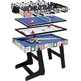 HCL- tavolo multigioco 4in 1,pieghevole, biliardo, calcio balilla, Hockey, ping pong, 121,5x 61x 81,3cm