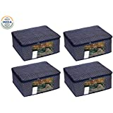 Homestrap Cotton Quilted Large Saree Cover Bag/Wardrobe Organiser with Transparent Window- Navy Blue - Pack of 4