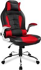 Merax Racing Stuhl Gaming Stuhl Sportsitz Bürostuhl Ergonomische Design PU Kunstleder Rücklehne Armlehnen Einstellbar, Schwarz/Rot