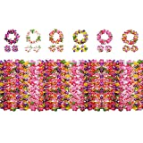 Yojoloin Hawaiianska blommor girlanger Leis Luau blommor för Hawaii festdekorationer tillbehör, med 12 armband 6 pannband och