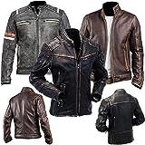 MC Vintage Retro 2nd Edition Cafe Racer Distressed Black and Plain Black Biker Genuine Leather Jacket