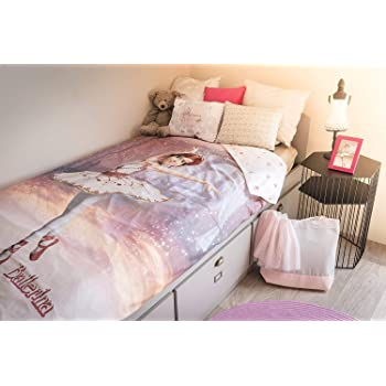 ballerine danseuse pois rose m lange de coton housse couette simple drap housse jardin. Black Bedroom Furniture Sets. Home Design Ideas