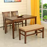 @home by Nilkamal Jewel 4 Seater Dining Table Set  Walnut