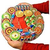Edible Gift Ideas Diwali cracker shape Chocolate Gift Round Platter ( 40 pc chocolate crackers) 800 grams