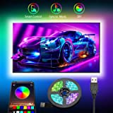 Tiras LED TV, Romwish 3M Tira LED USB RGB con APP, 16 Millones Colores DIY 5050 SMD,Sincronización de música Iluminacion Luce