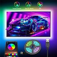 Strisce LED USB, Romwish 3M retroilluminazione LED TV con controllo da APP striscia LED RGB per TV da 40 pollici-60…