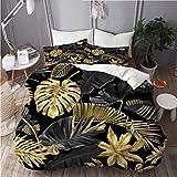 ELIENONO Parure de lit avec Housse de Couette en Microfibre,Vecteur Transparente Motif Or Noir Tropical,Sets de Housse de Cou