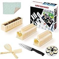 SKYSER 12 Pièces Sushi Maker Kit - Moules à Sushi Plastique Kit de Sushi Complet Riz Rouleau Moules Sushi Set avec…