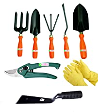 Easy Gardening - Garden Tools Kit (8Tools) Weeder,Trowel Big,Trowel Small,Cultivator,Fork, Pruner, Khurpi, Yellow Gloves