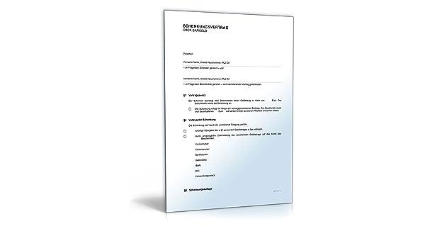 Schenkungsvertrag Bargeld Download Amazonde Software