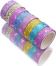 Success Stationery Designer Rainbow Glitter Sparkling Tape - Set of 10