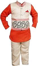 ahhaaaa Boy's Blended Kurta Set with Waistcoat (Red_6-7 Years)