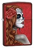 Zippo Day of The Dead Girl Winddicht Feuerzeug–Candy Apple Red