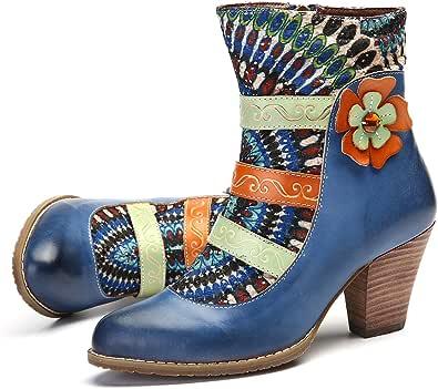 Chaussures de Ville Bottines Femmes en Cuir /à Talon Haut Slip on Confortable Chelsea Boot Montante Santiags Soir/ée Mode Noir Marron gracosy Bottes Femme Cuir